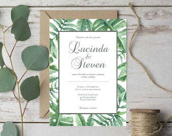 Tropical Wedding Invitation Template Download Wedding Invitation Green Wedding Invitation Leaves Destination Wedding Invites Tropical Leaf