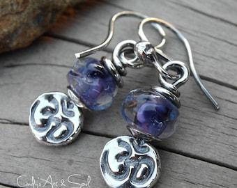 Om Earrings Purple Yogi Aum Earrings Colorful Handcrafted Lampwork
