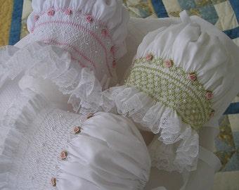 Smocked baby bonnet..Hat...Heirloom..infant..baby...toddler..Christening..Baptism..Wedding...Vintage....Easter...Spring..Summer..Photo Prop