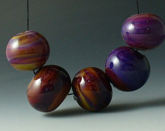 Lampwork beads/SRA lampwork/beads/Double Helix/hollows/silver glass/ purple/ruby/