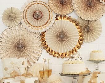 Ivory Gold Paper Fans | Gold Wedding Backdrop Paper Rosette Backdrop Gold Paper Pinwheel Fans 50th Anniversary Party Gold Rosette Backdrop