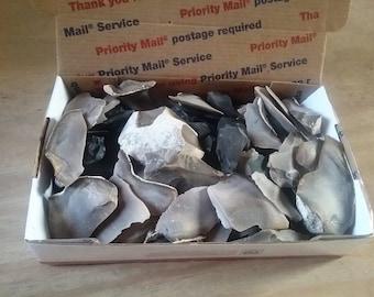 MIXED FLINT,Chips,Fire Starter,Gun Flint,Fire Flint,Flint Knapping,Bird Points,Decorative,Gardening,2+ Pounds