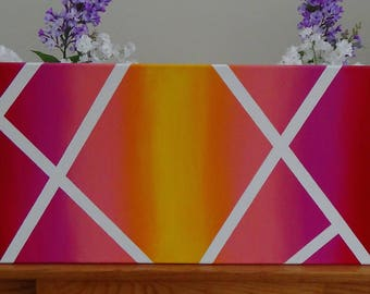 Pink Yellow Red Ombre Abstract Painting