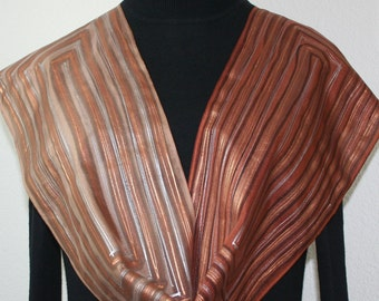 Brown Silk Scarf Hand Painted Beige Copper Silk Shawl COFFEE LOVER, in 2 SIZES. Christmas, Birthday Gift. Anniversary Gift. Silk Painting
