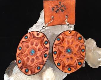 Handmade Tooled Oval Leather  Earrings