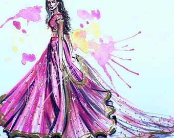 Wearing my invisible crown - Fashion Illustration, Indian fashion Illustration , Ghagra choli, traditional