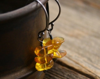 Butterscotch Earrings in Amber and Sterling.