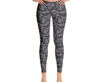 Bat Leggings. Great for Halloween. Also worn as yoga Pants. Polyester & Spandex Blend. Size XS-XL. Printed and Sewn in USA.
