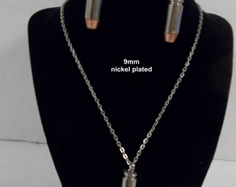 Real  9mm Brass or Nickle  Bullet Dangle Earrings/Necklace or Zipper pull