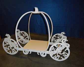"""Princess Carriage Wood 12"""" Plate Style 1  Painted White, Ivory, Gold or Silver Holds Small 3 Tier Cake"""