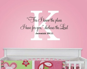 For I know the Plans Wall Decal - Scripture Quote Vinyl Decal - Childrens Vinyl Lettering - Wall Decal - Baby Nursery - Christian Wall Art