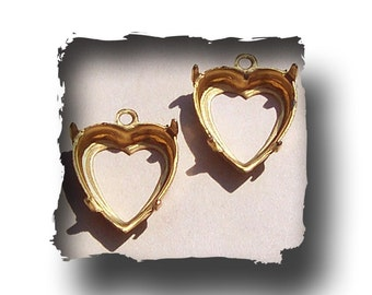 10x10mm Brass Heart Settings (5)