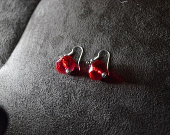 Vintage Red Ball Drop - Dangle Earrings / Free Shipping