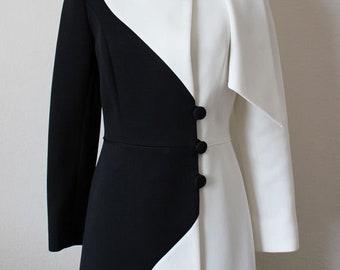 RARE Vintage Lilli Ann Knit Black & White Long Jacket Coat w/ Wrap Scarf, Small