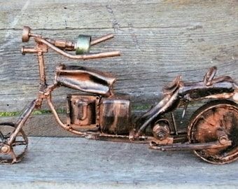 Bronze Motorcycle Metal Sculpture