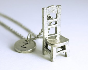Chair Charm Necklace, initial necklace, initial hand stamped, personalized, antique silver, monogram