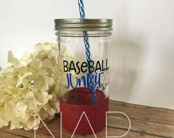 Baseball Junkie    glitter mason jar tumbler