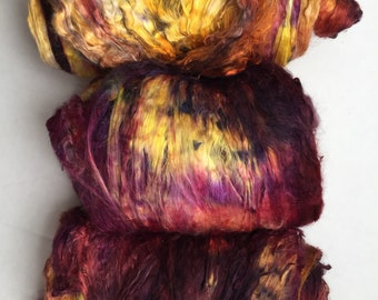 Hand dyed mulberry silk, indie dyed combed top, roving, bombyx silk, spinning felting fiber, 2oz, 'Wheat Kings'