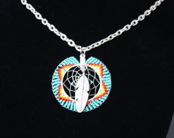 Turquoise Native American Hand Beaded Dream Catcher Necklace