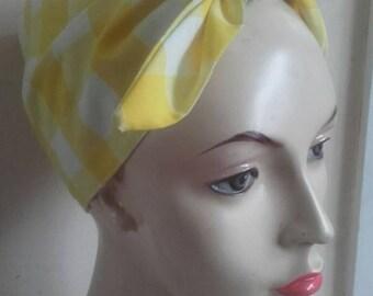 Bandanna, 1950's headscarf, gingham hair tie, vintage headband, 1940s headscarf
