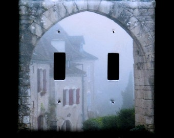 Double Switchplate Cover - Entry to St. Cirq in the Fog