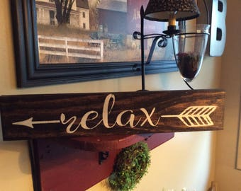 Relax Sign, relax, bathroom decor, bathroom sign, home decor, wall decor, wood sign, bathroom wall art, rustic bathroom sign, spa decor