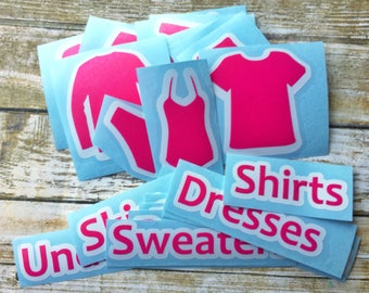 Girl's Dresser Labels - Chest of Drawers Clothing Decals - Organization - Kid's Stickers - Children's Room - 22 Labels