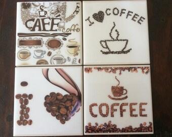 "Handmade ""I love coffee"" coasters"
