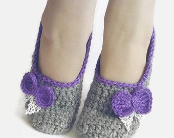 Crochet Slippers, home slippers, women slippers, crochet shoes, house slippers, knitted slippers, grey slippers, wool Slippers, slippers