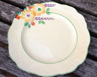 Vintage 1930's Sandwich / Cake PlateWith Lovely Floral Details.
