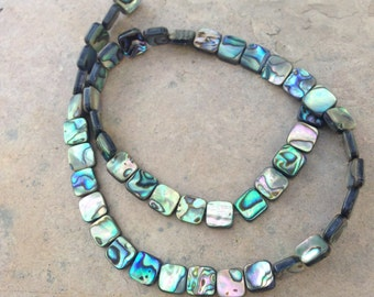 Abalone Beads, Small Squares, 2 sided, 8mm, 16 inch square