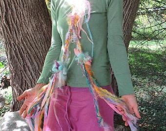scarf fantasy luxury fiber art yarn braid lariat garland long scarf - rainbow party garden
