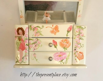 personalized,musical jewelry box,pink,coral,orange,fairies,flowers,butterflies,girls jewelry box,musical ballerina box,,musical jewely box