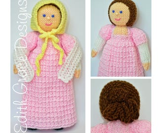 Doll Knitting Pattern - Georgian Doll - Knit Doll - Toy Knitting Pattern - Rag Doll Pattern - Knitted Toy - Amigurumi Doll - Yarn Doll