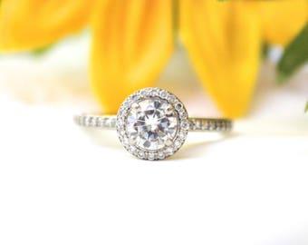 Round Moissanite Halo Engagement Ring, 14K white Gold, diamonds halo ring,