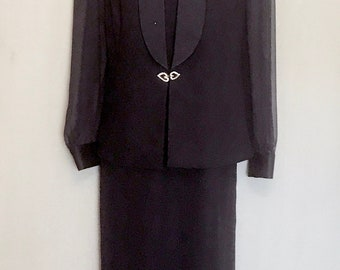 Navy Blue Evening Gown with Jacket       VG358