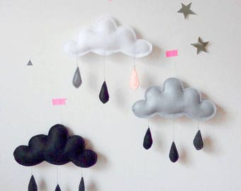 3 Cloud decor, Black cloud, grey cloud, nursery decor, kids room decor, felt cloud, monochrome kids room decor, scandinavian baby room