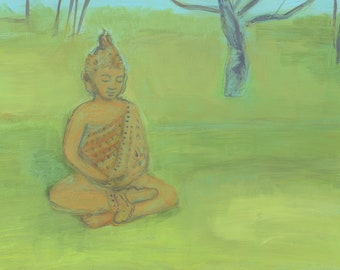 Buddha in the Garden - fine art print, archival print from original painting - art by Irene Stapleford