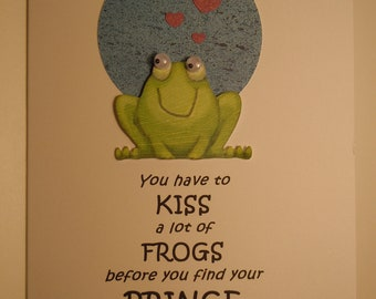 Engagement Handmade Engagement Congratulations Greeting Card with frog and hearts