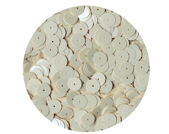 10mm flat round loose Sequins Opaque Creamy Ivory Glossy Bone. Made in USA