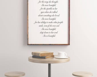 Quote, Art Prints, Quote Prints, Printable Quotes She was beautiful, F Scott Fitzgerald, Print Wall Decor Typography Printable, Wall Art