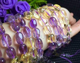 "15.5"" inch Amethyst and  Citrine Nuggets  Beads, Natural   Crystal  Beads,10x14mm  DIY Jewelry Jewelry Supplies"