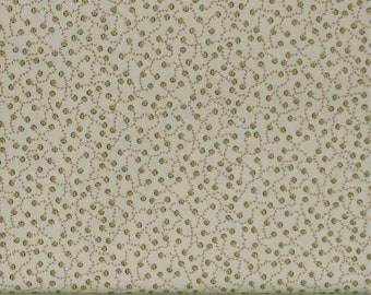 Small Gold and Green Design on Cream Background 100% Cotton Quilt Fabric, Kim Diehl's Helping Hands Collection, HEG6877-44