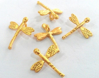 10 Dragonfly Charms Gold Plated Charm Gold Plated Brass (14x12 mm)   G9539