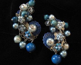 1940's Intense Loaded Blue Cluster Earrings