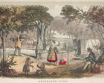 """1856 ORIGINAL wood engraving of a Pioneer encampment from Henry Howe's """"Historical Collections of the Great West...."""""""