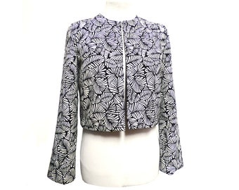 "Short jacket for woman spencer elegant patterned tropical leaves black and white ""Grafik"""