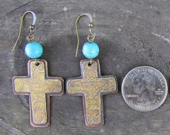 Etched brass, Copper, Turquoise Bead Earrings