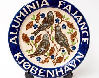 Aluminia//Royal Copenhagen Early 20th Century Merchandising Wall Plate with Bird Pattern
