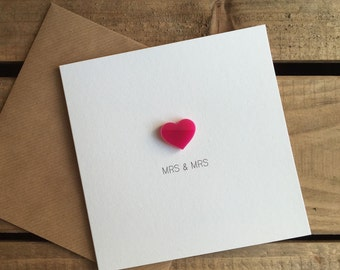 MRS & MRS Wedding Day Card with Pink detachable Love Heart magnet keepsake